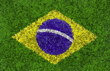 Flag of Brazil collected from leaves