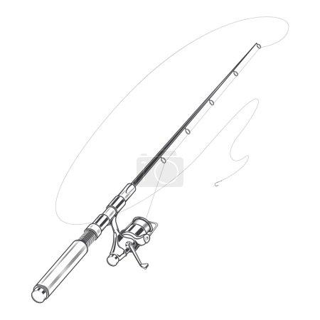 Illustration pour Canne à pêche, filant avec un appât isolé sur un fond blanc. L'art linéaire. Design rétro. Illustration vectorielle . - image libre de droit