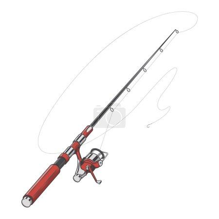 Illustration pour Canne à pêche rouge, filant avec un appât isolé sur un fond blanc. Art de la ligne de couleur. Design rétro. Illustration vectorielle . - image libre de droit