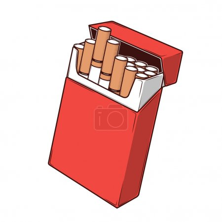 Close-up cigarettes in a red packet isolated on a white background. Color Line art. Retro design. Vector illustration.
