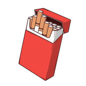 Close-up cigarettes in a red packet isolated on a white background Color Line art Retro design Vector illustration