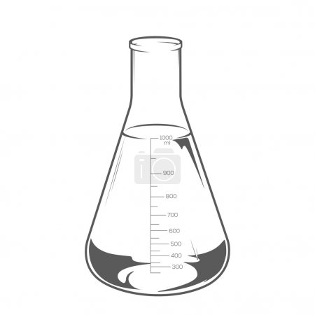 Chemical laboratory glassware with liquid isolated on white background. Erlenmeyer flask 1000ml. Monochromatic line art. Retro design. Vector illustration.