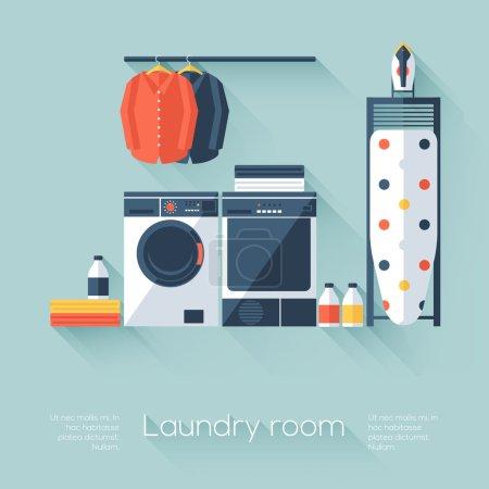 Illustration pour Buanderie avec lave-linge et sèche-linge. Style plat avec de longues ombres. Design moderne et tendance. Illustration vectorielle . - image libre de droit