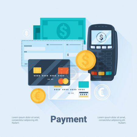 Card, Money, Coins and Cheque. Payment Methods Concept. Flat Style with Long Shadows. Clean Design. Vector Illustration.