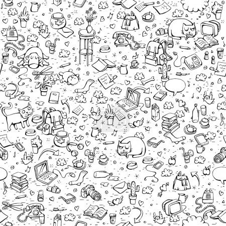 Illustration for Technological Everyday Objects seamless pattern in black and white. Collection of various isolated objects and pets. Illustration is eps8 vector. - Royalty Free Image