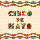 Cinco De Mayo Lettering For Card With Bright Mexican Borders