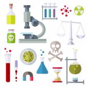 Flat Style Icons Chemistry Theme