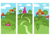 Fantastic village with colorful houses on three vertical banners Way between green hills some trees and blue sky with clouds Useful for web site or poster Vector file is EPS8