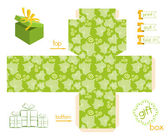 Printable Gift Box Striped Leaves Pattern