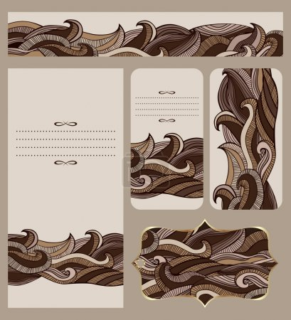 Illustration for Branding design with abstract decorative wavy pattern for identity firm design. Collection of business cards, banners and tag. Design for flyer, greeting card, invitation. Vector file is EPS8, all elements are grouped by colors. - Royalty Free Image