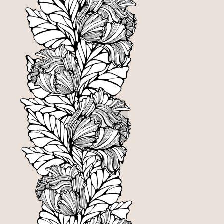Illustration pour Fond floral abstrait avec ligne art dentelle motif vertical sans couture. Ornement répétitif avec dessin vintage. Composition des feuilles et des tulipes. Espace de copie. Le vecteur est EPS8 . - image libre de droit