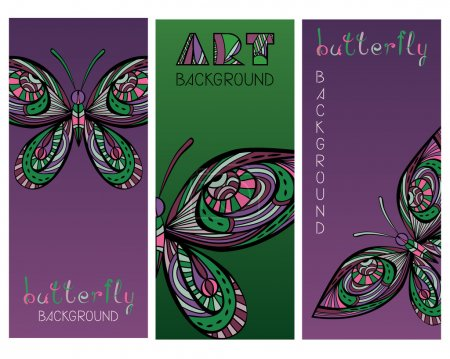 Set Of Cards With Vintage Abstract Butterflies