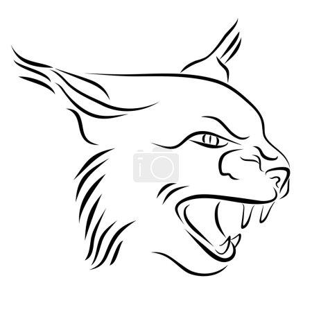 Illustration pour Illustration en noir et blanc avec tête de lynx avec dents nues. Croquis dessiné à la main. Peinture à l'encre. Élément de conception utile pour le logo. Le fichier vectoriel est EPS8 . - image libre de droit