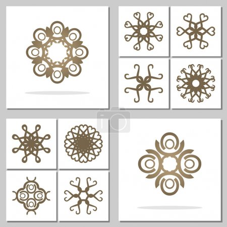 Illustration for Set of design elements for logo or corporate identity. Circle elements symbolize stability, creativity, balance. Useful for tattoo. Vector file is EPS8. - Royalty Free Image
