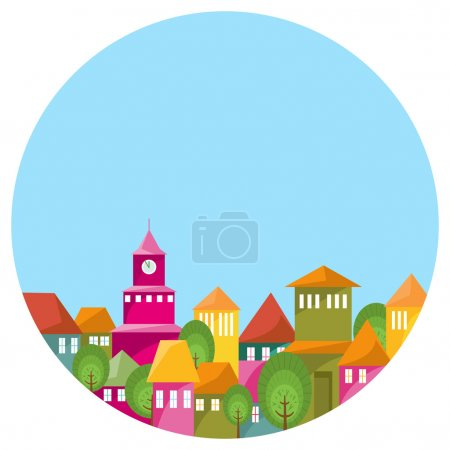 Illustration for Round illustration with landscape of abstract cosy city under blue sky. Colorful houses and long shadows with effect bright sun light. Copy space. Vector file is EPS8. - Royalty Free Image