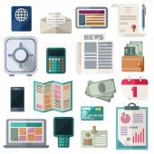 Business and financial work items essentials equipment elements development tools Colorful modern vector flat icons set Isolated objects on white background Concepts for web and mobile apps Vector file is EPS8 Each icon is grouped apart