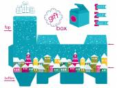 Printable Gift Box With Colorful Snowcovered Town