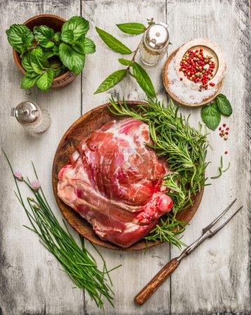 Raw leg of lamb