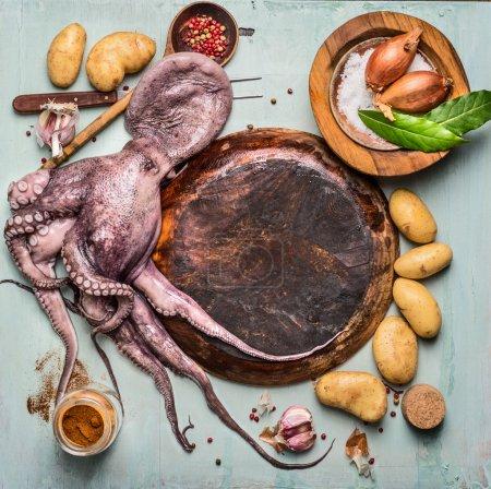 Raw octopus around empty plate