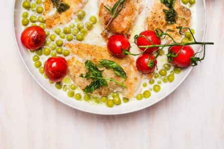 Cooking pan with chicken breast