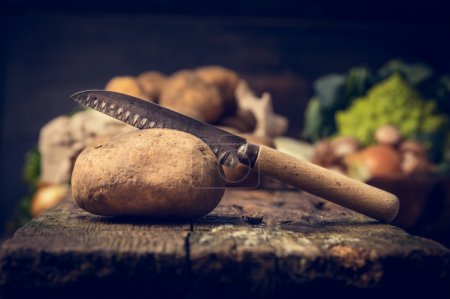 Organic potato with knife