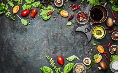 Photo for Fresh delicious ingredients for healthy cooking or salad making on rustic background, top view, banner. Diet or vegetarian food concept. - Royalty Free Image