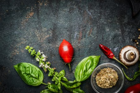 Photo for Basil and Tomatoes in rustic wooden background, ingredients for cooking or salad making, top view - Royalty Free Image