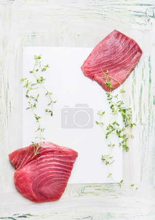 Tuna steaks with fresh herbs