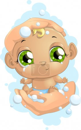 Illustration for Little kid painted on a white background - Royalty Free Image