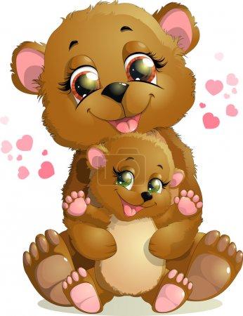 Illustration pour Belle ours étreint son petit ours en peluche sur fond blanc - image libre de droit