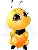 Včela drží srdce