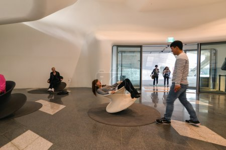 Funny bouncing chairs in Dongdaemun Design Plaza in Seoul