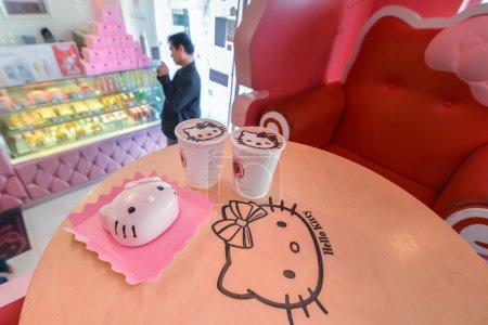"Sweats and treats inside the pink cafe ""Hello Kitty"" in Seoul, Korea"