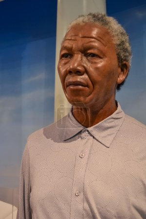 Wax portrait of Nelson Mandela at Madame Tussaud's museum in New York
