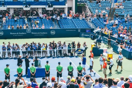 CINCINNATI, OH - CIRCA 2011: award ceremony after match of Novak Djokovic vs Andy Murray at Lindner Family Tennis Center on Western & Southern Open finals in Cincinnati, OH, USA at summer 2011.