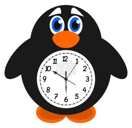 Illustration pour Un pingouin objet horloge - image libre de droit