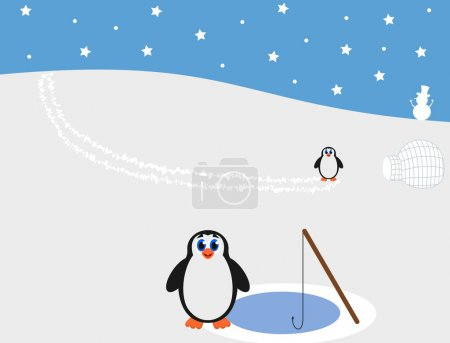 Illustration pour Pingouins à la pêche du pôle nord - image libre de droit