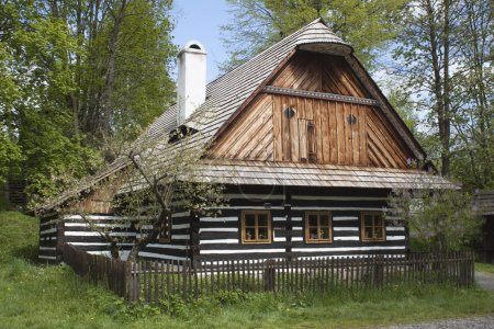 Vesely Kopec, Czech Republic-May 7,2014: Skanzen Vesely Kopec, folk architecture, typical Czech rural building in the highlands, water mill,