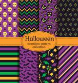 Vector illustration of seamless patterns with traditional holiday symbols: skulls pumpkins bats and candies