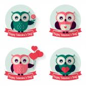 Valentine's labels with owls and ribbons Vector set