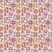 Seamless pattern with photo equipment and symbols Background with nice icons for photographic theme Vector illustration