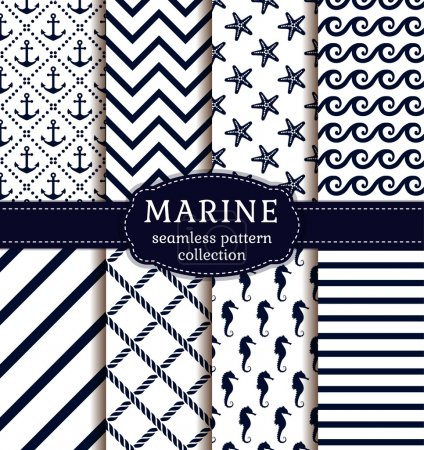 Sea and nautical patterns set.