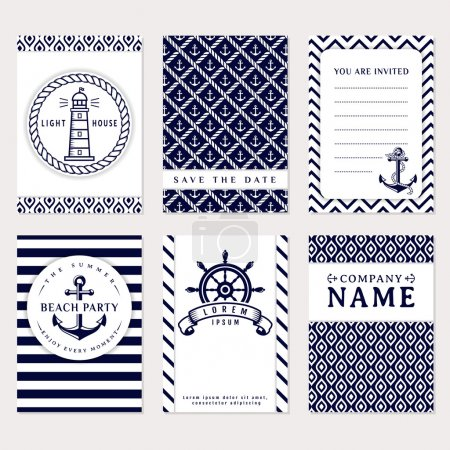 Illustration for Set of nautical and marine banners and flyers. Elegant card templates in white and navy blue colors. Sea theme. Vector collection. - Royalty Free Image