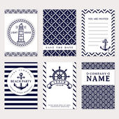 Set of nautical and marine banners and flyers Elegant card templates in white and navy blue colors Sea theme Vector collection