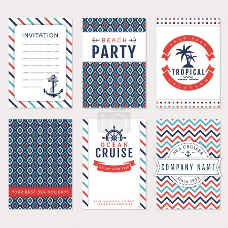 Illustration for Set of nautical and marine banners. Card templates in white, blue and red colors. Sea theme. Vector collection. - Royalty Free Image
