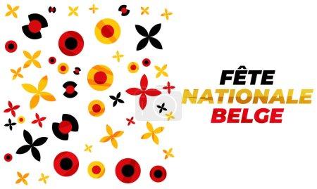 Photo pour Fte nationale belge. Traduction - Fête nationale belge. Belgique Fête de l'indépendance. Célébré le 21 juillet. Design patriotique. Arrière-plan, affiche, carte de vœux, conception de bannière. - image libre de droit