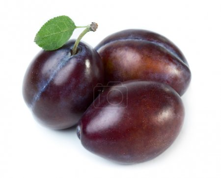Sweet plums with leaf