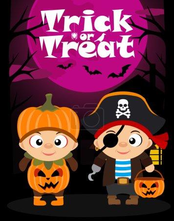 Illustration pour Halloween tour de fond vectoriel ou traiter avec des enfants en costume d'Halloween - image libre de droit