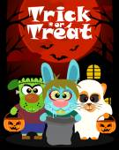 Halloween background with animal trick or treating