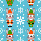 New Year seamless card with funny rabbit santa claus and rabbit elf